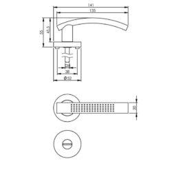 Intersteel deurklink William op rozet toilet-/badkamersluiting nikkel mat - Technische tekening
