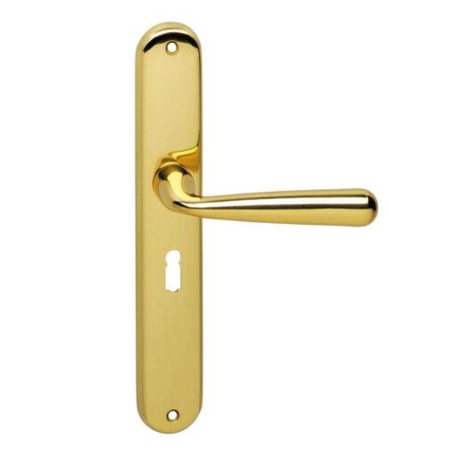 Intersteel deurklink Yvonne op schild sleutelgat 56 mm Koper gelakt