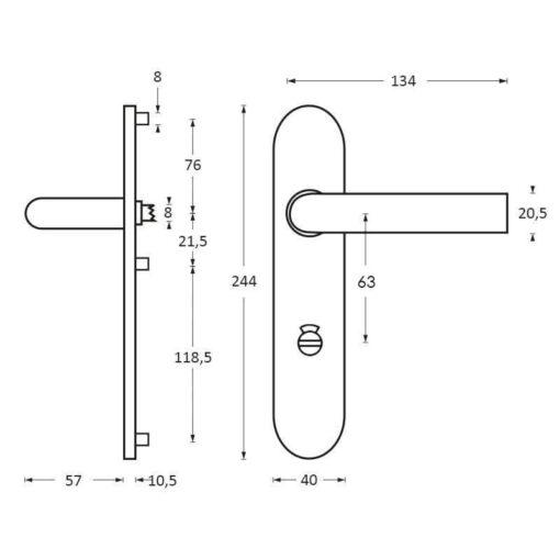 Intersteel deurklink Yvonne op schild toilet-/badkamersluiting 63 mm chroom mat - Technische tekening