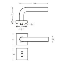 Intersteel deurklink ovaal L-hoek op vierkant rozet sleutelgat INOX geborsteld - Technische tekening