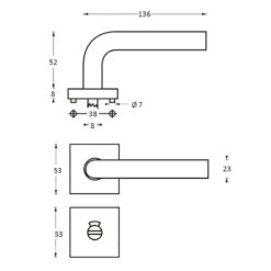 Intersteel deurklink ovaal L-hoek op vierkant rozet toilet-/badkamersluiting INOX geborsteld - Technische tekening