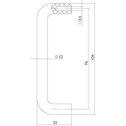 Intersteel kasttrekker 106 mm - boormaat 96 mm - Technische tekening