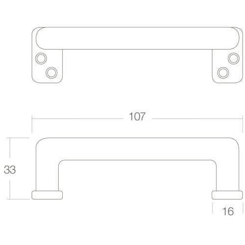 Intersteel kasttrekker 107 mm chroom - Technische tekening