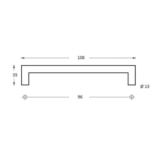 Intersteel kasttrekker 108 mm INOX geborsteld - Technische tekening