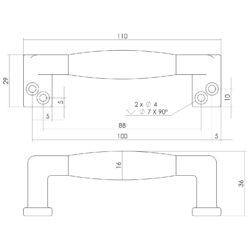 Intersteel kasttrekker 108 mm Koper gelakt zwart hout - Technische tekening