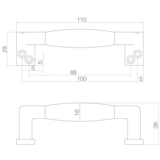 Intersteel kasttrekker 108 mm Koper getrommeld/zwart hout - Technische tekening