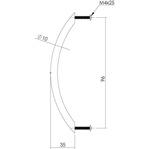 Intersteel kasttrekker 110 mm INOX geborsteld - Technische tekening
