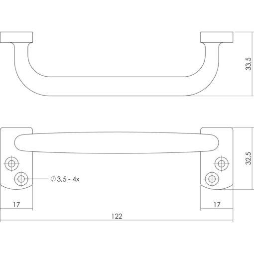 Intersteel kasttrekker 122 mm chroom mat - Technische tekening