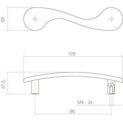 Intersteel kasttrekker 125 mm chroom - Technische tekening