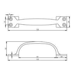 Intersteel kasttrekker 130 mm chroom - Technische tekening