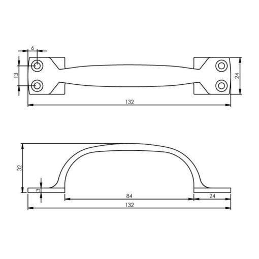 Intersteel kasttrekker 130 mm nikkel - Technische tekening
