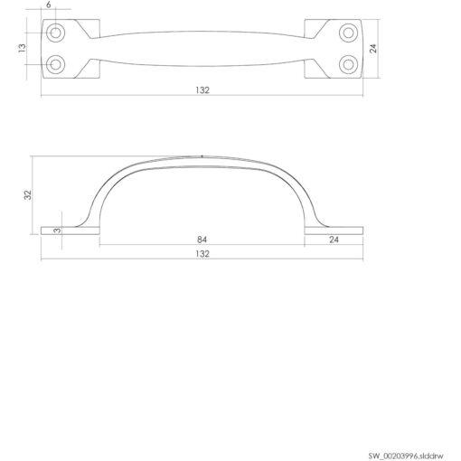 Intersteel kasttrekker 130 mm nikkel mat - Technische tekening