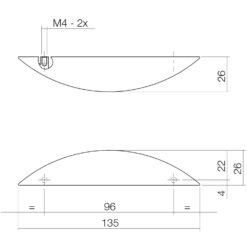 Intersteel kasttrekker 135 mm nikkel mat - Technische tekening