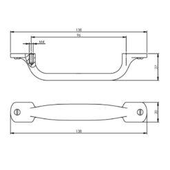 Intersteel kasttrekker 138 mm mat zwart - Technische tekening