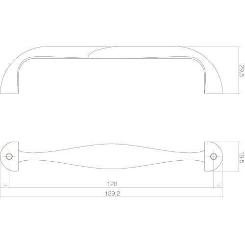 Intersteel kasttrekker 139 mm mat zwart - Technische tekening