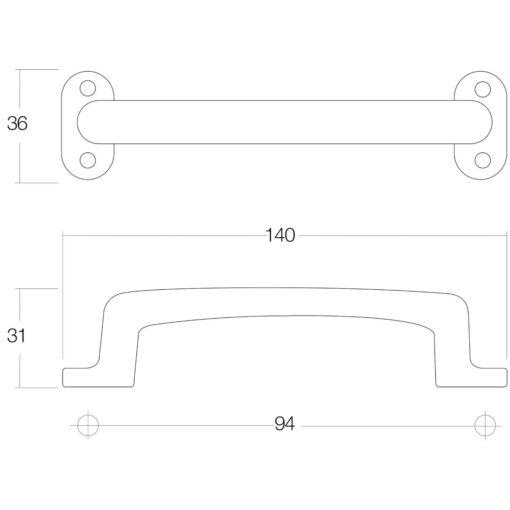 Intersteel kasttrekker 140 mm Koper gebruineerd - Technische tekening