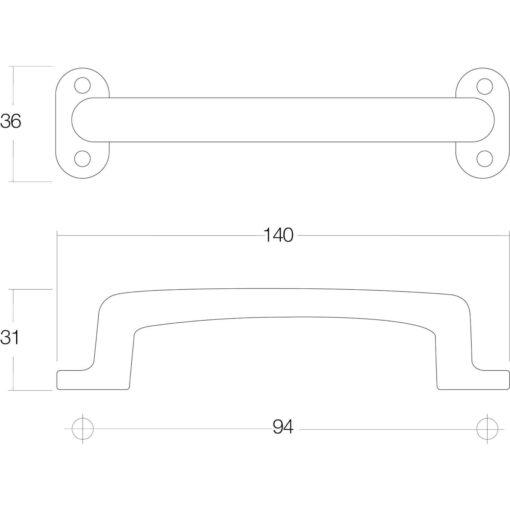 Intersteel kasttrekker 140 mm nikkel mat - Technische tekening