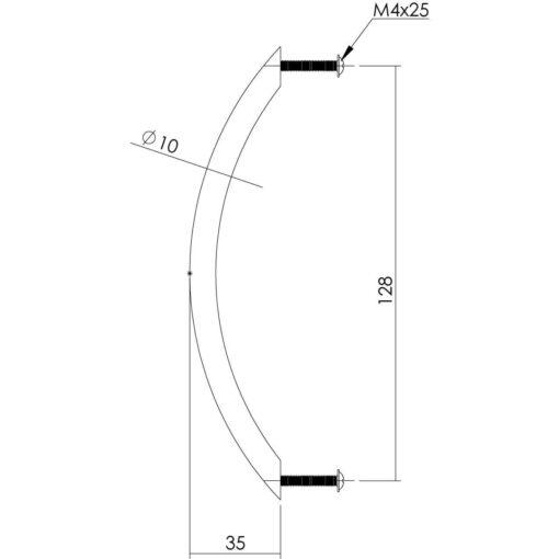 Intersteel kasttrekker 145 mm INOX geborsteld - Technische tekening