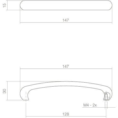 Intersteel kasttrekker 147 mm chroom - Technische tekening