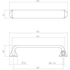 Intersteel kasttrekker 149 mm recht chroom - Technische tekening