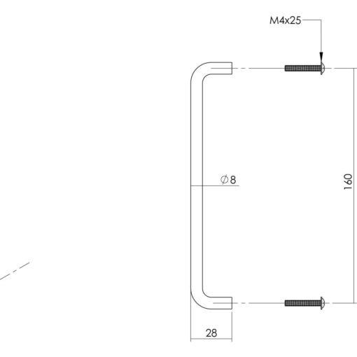 Intersteel kasttrekker 168 mm INOX geborsteld - Technische tekening