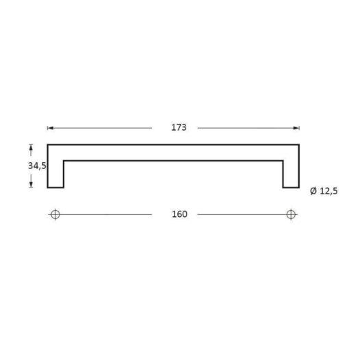 Intersteel kasttrekker 173 mm INOX geborsteld - Technische tekening