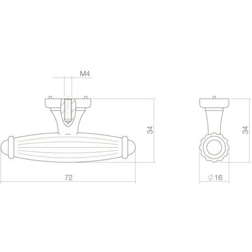 Intersteel kasttrekker 72 mm Koper gebruineerd - Technische tekening