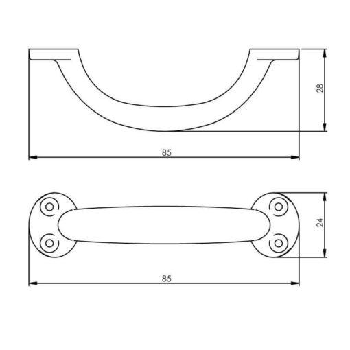 Intersteel kasttrekker 85 mm geperst nikkel - Technische tekening