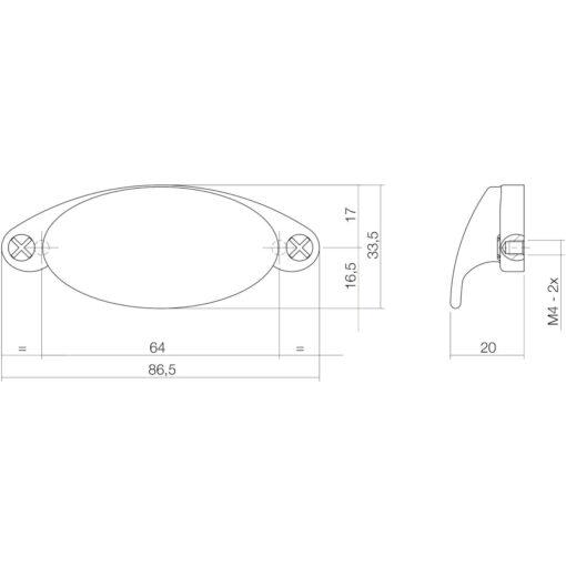 Intersteel kasttrekker 87 mm nikkel mat - Technische tekening