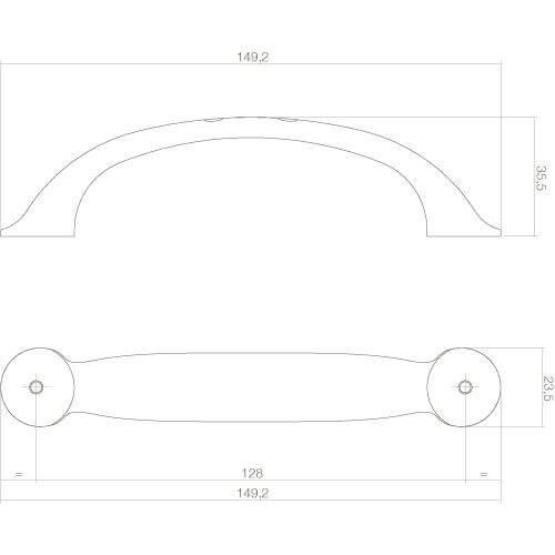 Intersteel kasttrekker Anna 149 mm mat zwart - Technische tekening