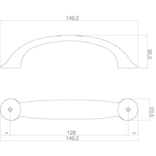 Intersteel kasttrekker Anna 150 mm chroom mat - Technische tekening