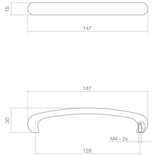 Intersteel kasttrekker Dianne 128 mm chroom mat - Technische tekening
