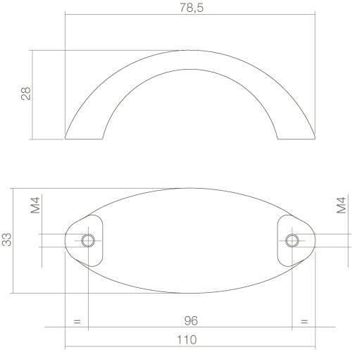 Intersteel kasttrekker Ellips breed 110 mm mat zwart - Technische tekening