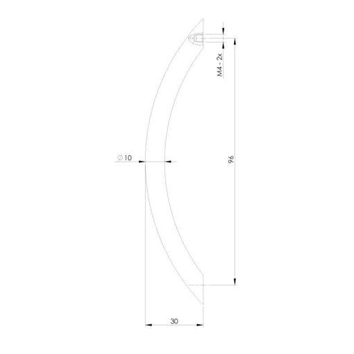 Intersteel kasttrekker Gebogen 110 mm nikkel mat - Technische tekening