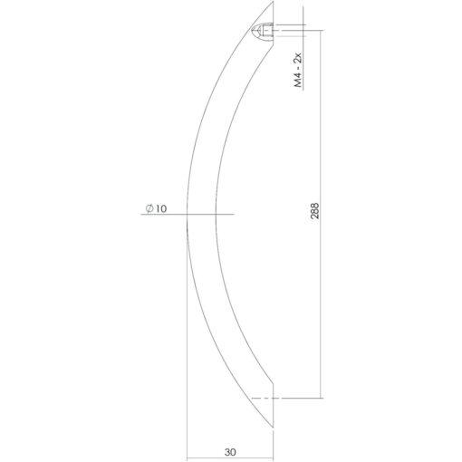 Intersteel kasttrekker Gebogen 302 mm nikkel mat - Technische tekening