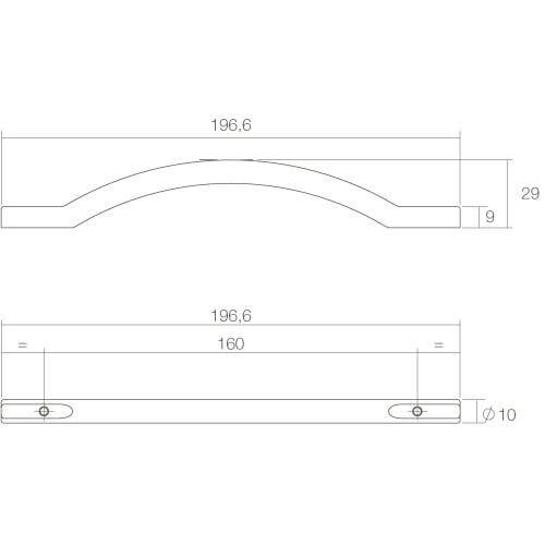 Intersteel kasttrekker Gebogen opliggend 197 mm nikkel mat - Technische tekening