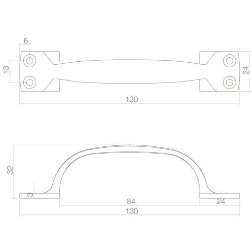 Intersteel kasttrekker Haags model 130 mm Koper ongelakt - Technische tekening