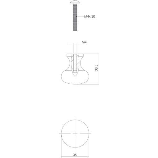 Intersteel kasttrekker Paddenstoel diameter 35 mm smeedijzer grijs - Technische tekening