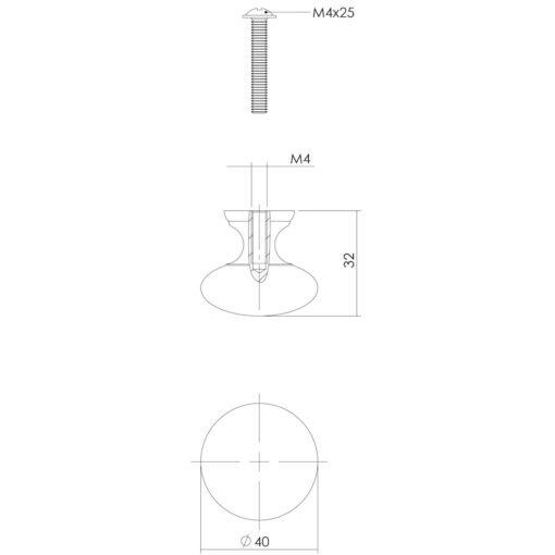 Intersteel kasttrekker Paddenstoel diameter 40 mm Koper gelakt - Technische tekening