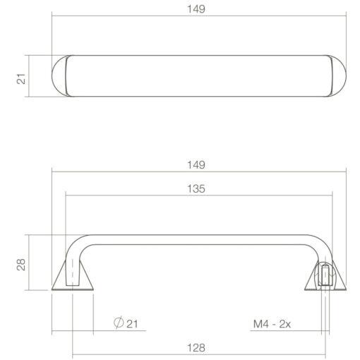 Intersteel kasttrekker Ruben 149 mm chroom mat - Technische tekening