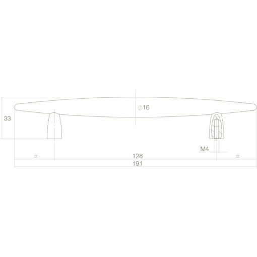 Intersteel kasttrekker Sigaar 128 mm chroom - Technische tekening