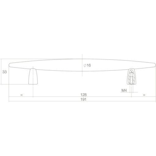 Intersteel kasttrekker Sigaar 128 mm mat zwart - Technische tekening
