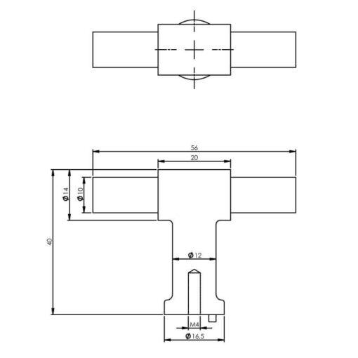 Intersteel kasttrekker T-vorm 20mm recht/recht INOX geborsteld - Technische tekening
