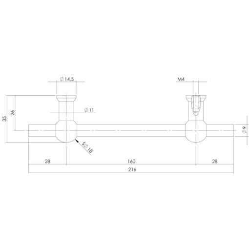 Intersteel kasttrekker T-vorm 216 mm - boormaat 160 mm INOX geborsteld - Technische tekening