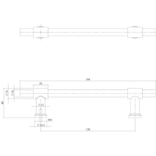 Intersteel kasttrekker T-vorm recht 184 mm INOX geborsteld - Technische tekening