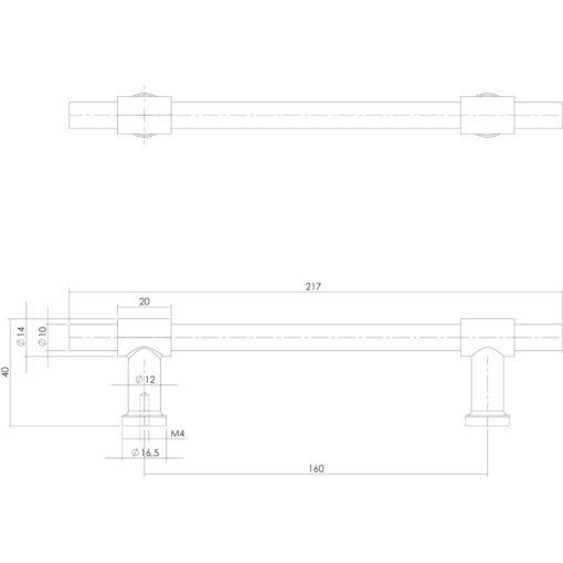 Intersteel kasttrekker T-vorm recht 216 mm INOX geborsteld - Technische tekening