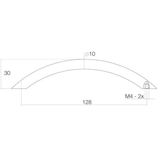 Intersteel kasttrekker Vierkant 137 mm chroom mat - Technische tekening