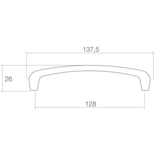Intersteel kasttrekker bloem 138 mm - Technische tekening