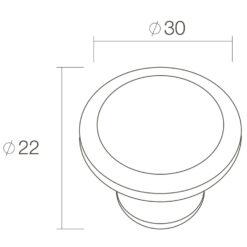 Intersteel kasttrekker bloem diameter 30 mm oud grijs - Technische tekening