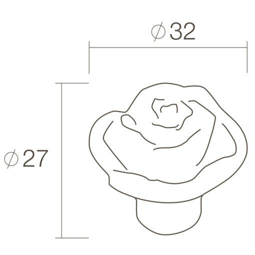 Intersteel kasttrekker bloem diameter 32 mm oud grijs - Technische tekening